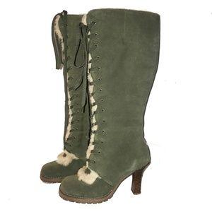 Vintage 90s Suede w/ Faux Fur Lace Up Boots 7.5B
